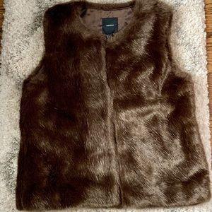 Forever 21 Faux Fur Vest Boho Glam Brown